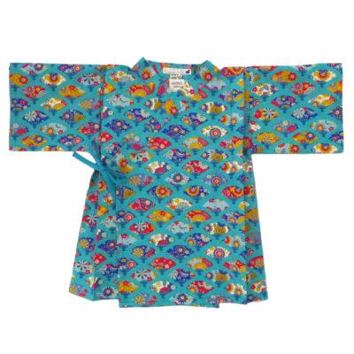 kimono éventails turquoise